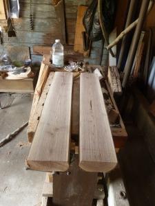 Bisected walnut log for bench
